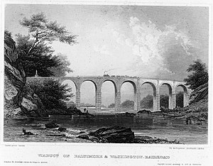 Capital Subdivision - The Thomas Viaduct about 20 years after its construction in 1835