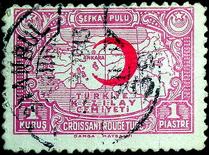 International Federation of Red Cross and Red Crescent Societies - A stamp from Turkey to support the Red Crescent, 1938.
