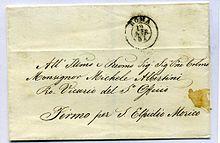Lettera con timbro dello Stato Pontificio antecedente l'introduzione dei francobolli