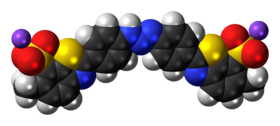 Ball-and-stick model of the titan yellow molecule, sodium salt