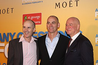 Tom Gleisner - Tom Gleisner(left),  Rob Sitch(middle) and Michael Hirsh at the 2012 Sydney premiere of Any Questions for Ben?