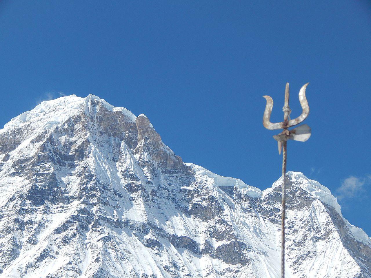 Lord shiva trishul picture - File Top Of Annapurna The Great Lord Shiva S Trishul On The Base Jpg