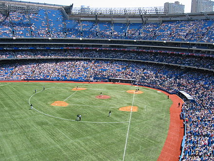 After the 2004 season, FieldTurf replaced AstroTurf as the Rogers Centre's playing surface. Toronto, Skydome, N.Y. Yankees vs. BlueJays.JPG