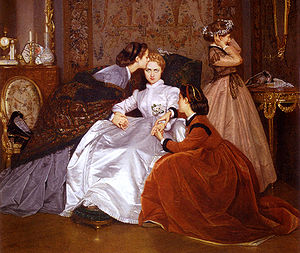 1860s in Western fashion - Fashions of the 1860s include square paisley shawls folded on the diagonal and full skirts held out by crinolines. Auguste Toulmouche's Reluctant Bride of 1866 wears white satin, and her friend tries on her bridal wreath of orange blossoms.