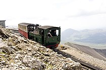Train descending from summit of Snowdon - geograph.org.uk - 314268.jpg