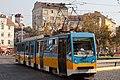 Tram in Sofia near Russian monument 059.jpg