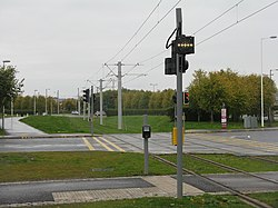 Tramway crossing Lochside Avenue (geograph 3700524).jpg