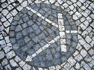 Transistor - Transistor symbol created on Portuguese pavement in the University of Aveiro.