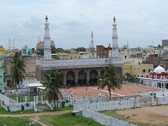 Triplicane Big Mosque - A panoramic view of Biq Mosque; Dome, Sacred water tank and the two minarets