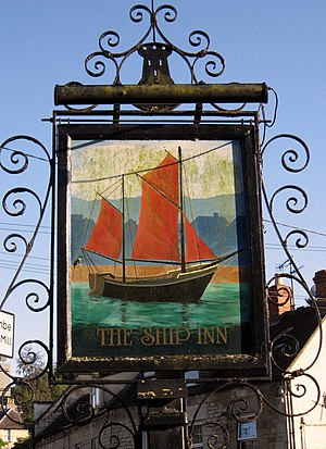 Brimscombe and Thrupp - The Ship Inn sign at Brimscombe featuring a Severn Trow