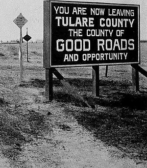 Tulare County, California - Road sign, 1920