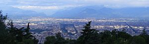 Turin metropolitan area - The urban agglomeration seen from east (Turin's hills) to west (Susa Valley)