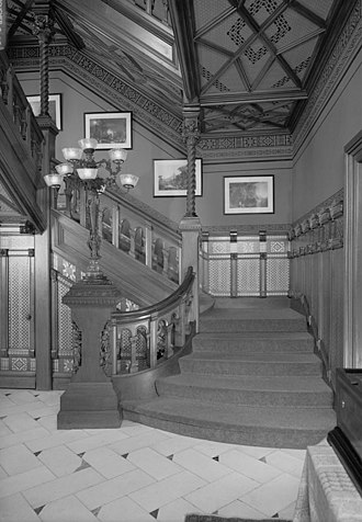 Mark Twain House - Entrance hall and main staircase (HABS photo)