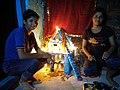 Two sister celebrating diwali with own made diwali ghar in northern india,bihar,india.jpg