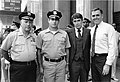 "Two unidentified officers, Police Commissioner Francis ""Mickey"" Roache, and Mayor Raymond L. Flynn (9519690376).jpg"