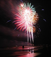 A collection of palm-shell fireworks illuminating the beach of Tybee Island, Georgia