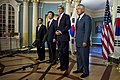 U.S. Defense Secretary Chuck Hagel, far right, joins U.S. Secretary of State John F. Kerry, second from right, as Kerry announces a meeting with South Korean Foreign Minister Yun Byung-se and South Korean Defen 141024-D-DT527-041c.jpg
