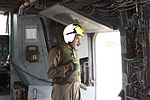 U.S. Marine Corps Cpl. Keith Lowe, a flight line mechanic, completes preflight checks aboard a CH-53E Super Stallion helicopter during humanitarian relief efforts in the Khyber- Pakhtunkhwa province of Pakistan 100826-M-ZG155-141.jpg