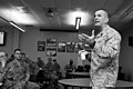 U.S. Marine Corps Sgt. Maj. Bryan B. Battaglia, the senior enlisted adviser to the chairman of the Joint Chiefs of Staff, speaks to U.S. Soldiers and Airmen with the Illinois National Guard at the 182nd Airlift 130406-Z-EU280-070.jpg