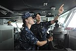 U.S. Naval Academy Midshipman 1st Class Juliana Everist, left, and Lt. Nathaniel Hayes stand watch on the bridge of the aircraft carrier USS Nimitz (CVN 68) June 27, 2013, in the Gulf of Oman 130627-N-AZ866-099.jpg