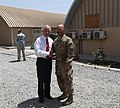U.S. Sen. Bob Corker of Tennessee, left, shakes hands with U.S. Army Sgt. 1st Class Henry Goldston, a Tennessee resident, at Camp Integrity, Afghanistan, July 7, 2013 130707-N-QV903-009.jpg