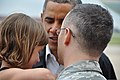 U.S President Barack Obama greets Air Force Capt. Russell Ramsey, assigned to the 72nd Air Base Wing and his family at Tinker Air Force Base, Okla., May 26, 2013 130526-F-VM627-001.jpg