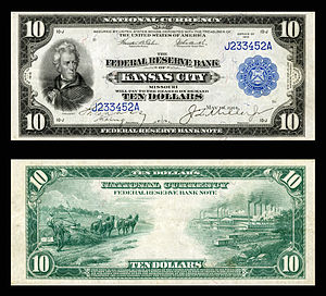 Federal Reserve Bank of Kansas City - $10 1915 Kansas City District Federal Reserve Bank Note.