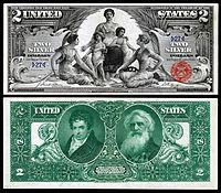 """Certificado de Prata de $ 2, Série 1896, Fr.1896, representando a alegoria intitulada """"Ciência apresentando vapor e eletricidade ao comércio e à manufatura"""""""