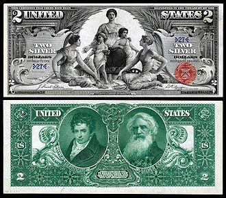 "United States two-dollar bill - Robert Fulton and Samuel Morse depicted on the reverse of the 1896 $2 'Educational Series"" Silver Certificate."