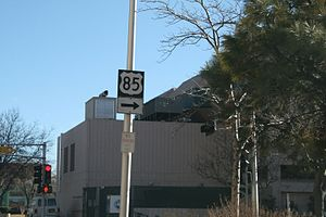 U.S. Route 85 - Remnant US-85 sign at Third Street and Roma Street in downtown Albuquerque in January 2009, New Mexico. US 85 was rerouted off this alignment c. 1990. (NOTE:  As of May 2015, this sign has been removed from this location.)