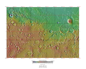 Aeolis quadrangle - Map of Aeolis quadrangle from Mars Orbiter Laser Altimeter (MOLA) data. The highest elevations are red and the lowest are blue.  The ''Spirit'' rover landed in Gusev crater. Aeolis Mons is in Gale Crater.