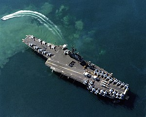 Midway-class aircraft carrier - Image: USS Coral Sea (CV 43) aerial photo at Benidorm 1988