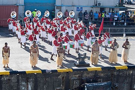 Fiji Military Forces Band performs as the USS Michael Murphy docks in Suva, Fiji. USS Michael Murphy Visits Fiji Ahead of Oceania Maritime Security Operations.jpg