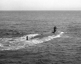 USS Thresher (SSN-593) - USS Thresher (SSN-593) underway, 30 April 1961.