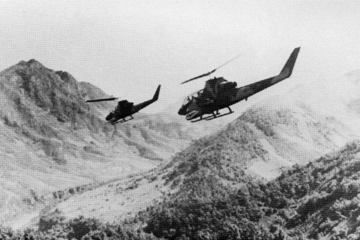 US Army AH-1G HueyCobras over Laos 1971