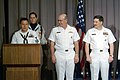 US Navy 030522-N-2383B-101 Chief of Naval Operations (CNO) Adm. Vern Clark and Master Chief Petty Officer of the Navy (MCPON) Terry Scott look on as Machinist's Mate 1st Class Marc Medina makes a speech.jpg