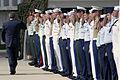 US Navy 031023-N-3228G-005 President George W. Bush returns the salute of Hawaii-based Operation Iraqi Freedom veterans on the pier where the retired battleship Missouri (BB 63) is moored.jpg