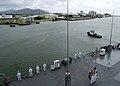 US Navy 050526-N-5334H-120 Sailors aboard the Seventh Fleet command ship USS Blue Ridge (LCC 19) man the rails as the ship arrives in Cairns, Australia.jpg