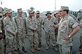 US Navy 051012-N-0962S-155 Master Chief Petty Officer of the Navy (MCPON) Terry Scott speaks to Sailors assigned to Beach Master Unit One (BMU-1) during his visit to the Persian Gulf.jpg