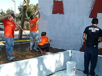 East Oakland, Oakland, California - US Navy painting crew at the East Oakland Youth Development Center, 2006