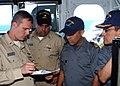 US Navy 070326-N-4716P-006 Lt. John Connally, communications officer, Lt. Cdr. Carlos Muooz, assistant operations officer, Lt. Francisco Jimenez, Mexican navy communications officer and the executive officer aboard ARM Usumacin.jpg