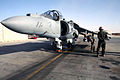 US Navy 071117-M-7404B-007 U.S. Marine Capt. Shively, left, a pilot assigned to Marine Attack Squadron (VMA) 542, performs a preflight inspection on an AV-8B Harrier before a mission.jpg