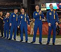 US Navy 080203-N-9641C-002 Members of the U.S. Navy flight demonstration squadron, The Blue Angels, are on the field during the third quarter of Super Bowl XLII (cropped).jpg