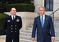 US Navy 081110-N-4267D-002 Bethesda Commander Adm. Matthew L. Nathan escorts President George. W. Bush as he exits Bldg. 1 of the National Naval Medical Center.jpg