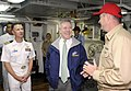 US Navy 090829-N-7280V-364 Secretary of the Navy (SECNAV) the Honorable Ray Mabus speaks with Lt. j.g. Jeffery Hanson, damage control assistant aboard the amphibious command ship USS Blue Ridge (LCC 19), during a tour of the sh.jpg