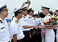 US Navy 091107-N-7478G-417 Vietnamese naval officers greet Capt. Thom W. Burke, commanding officer of the amphibious command ship USS Blue Ridge (LCC 19), during a routine port visit to Da Nang.jpg