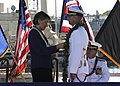 US Navy 100107-N-3560G-001 Hawaii Governor Linda Lingle awards the Meritorious Service Medal to Cmdr. Edward Herrington during a change of command ceremony at Naval Station Pearl Harbor.jpg