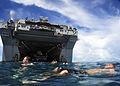 US Navy 100922-N-1531D-255 Service members embarked aboard the multipurpose amphibious assault ship USS Iwo Jima (LHD 7) participate in a swim call.jpg