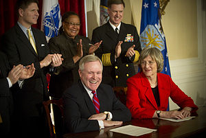Harvard ROTC - Secretary of the Navy (SECNAV) the Honorable Ray Mabus, left, and Harvard President Drew Faust sign a Memorandum of Agreement Restoring ROTC to Harvard