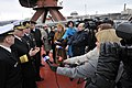 US Navy 110415-N-ZB612-463 Chief of Naval Operations (CNO) Adm. Gary Roughead answers questions from media aboard the Russian Federation Navy nucle.jpg